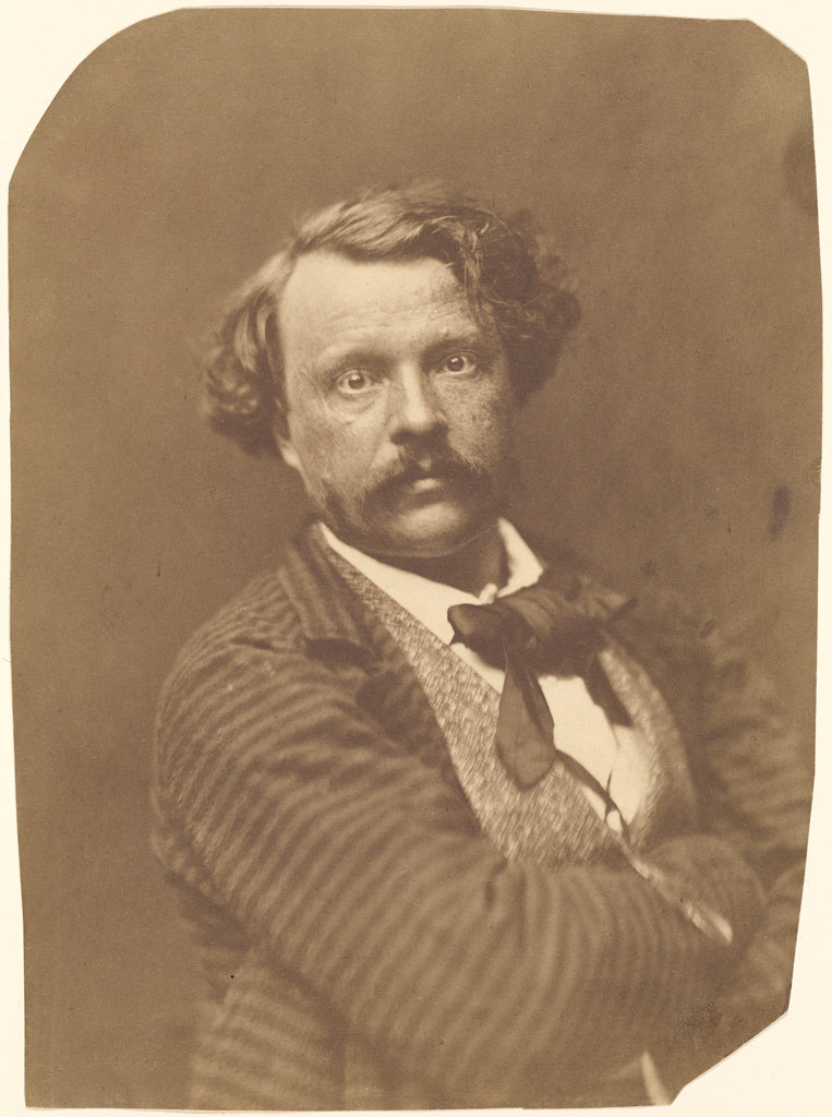 Nadar [Gaspard Félix Tournachon]:[Self portrait in striped ,16x12