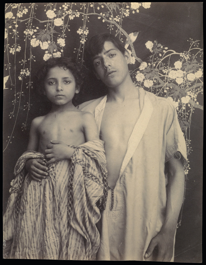 Baron Wilhelm von Gloeden:[Sicilian Boy and Girl Before Flor,16x12