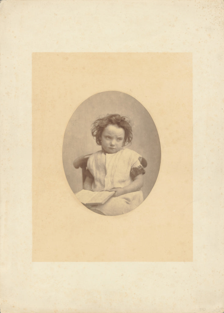 Oscar Gustave Rejlander:[Young Girl with an Opened Book on H,16x12