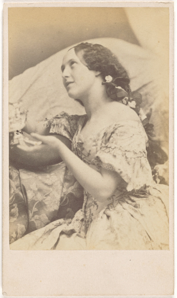 Oscar Gustave Rejlander:[Seated Young Woman with Flowers in ,16x12