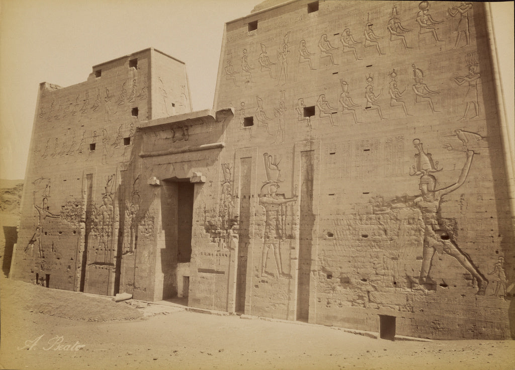 Antonio Beato:[Temple Pylon at Edfu] / [Edfou, Pylone du Tem,16x12