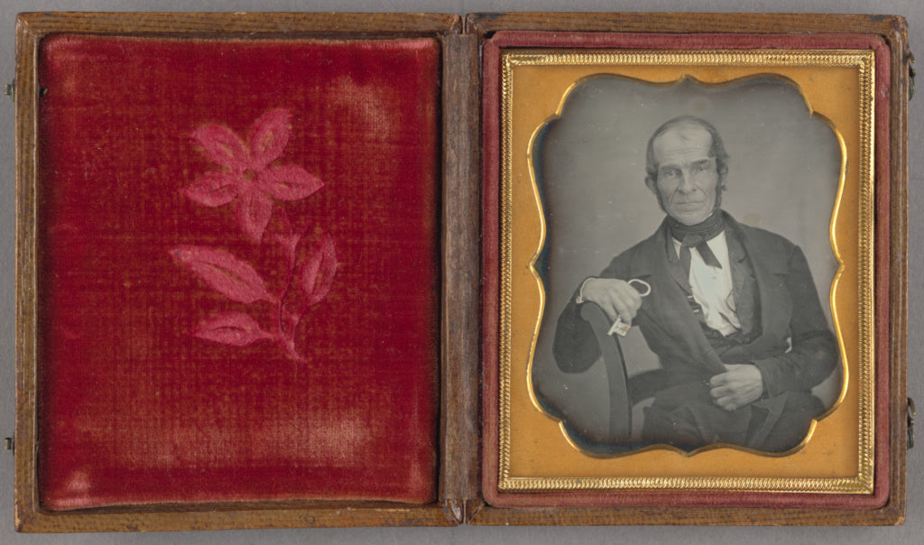 Unknown maker, American:[Portrait of a Seated Man Holding a ,16x12