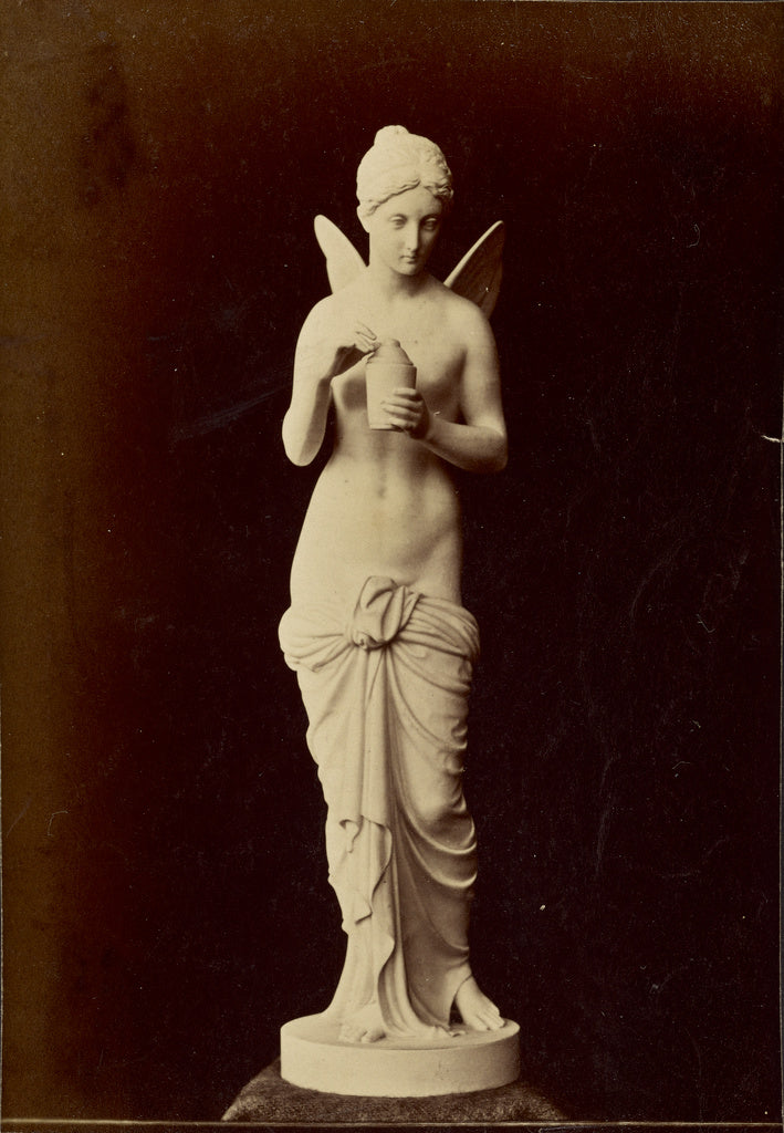 Unknown:[Statue of winged figure with pot],16x12