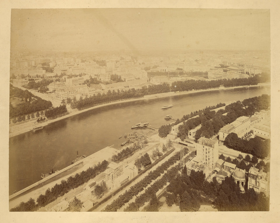 "Louis-emile Durandelle:Aerial view of the Seine and the Righ,16x12""(A3)Poster"