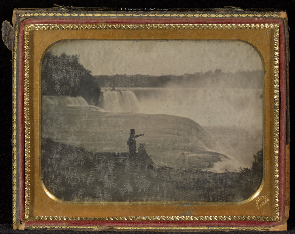 Platt D. Babbitt:[Niagara Falls with couple in foreground],16x12