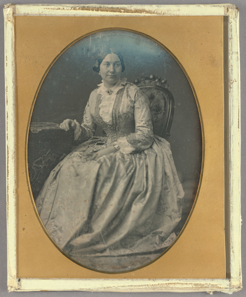 Unknown maker, French:[Portrait of a Seated Woman in Long, F,16x12