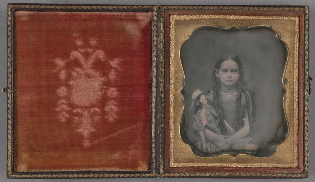 Unknown maker, American:[Portrait of a Seated Girl with Long,16x12