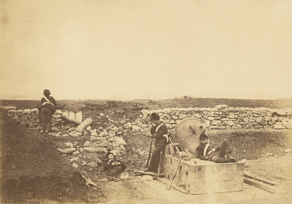 "Roger Fenton:A quiet day in the Mortar Battery.,16x12""(A3)Poster"
