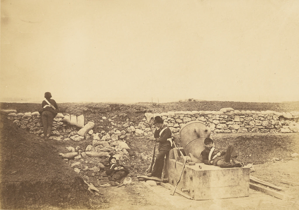 Roger Fenton:A quiet day in the Mortar Battery.,16x12