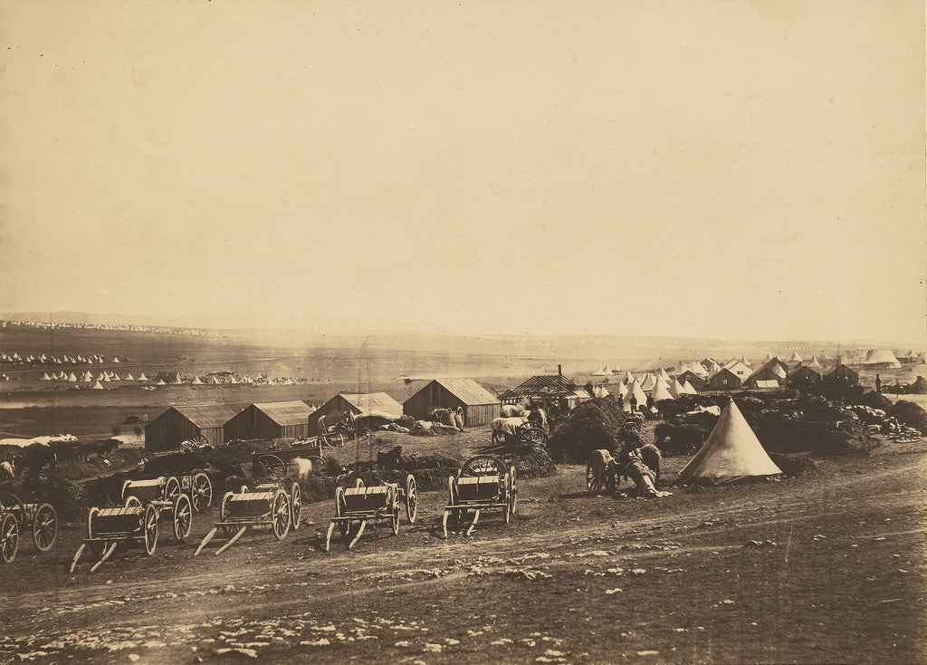Roger Fenton:Artillery Wagons, Balaklava in the distance.,16x12