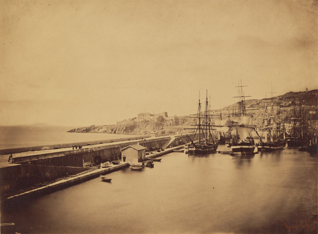 Gustave Le Gray:[Ships in Harbor, Sete],16x12