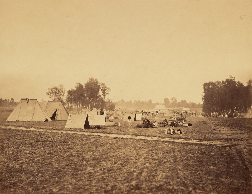 Gustave Le Gray:[Tents and Military Gear, Camp de Chalons],16x12