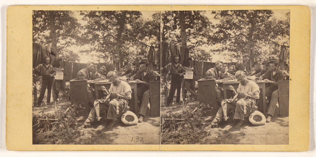 Unknown maker, American:[Group of Civil War soldiers at camp,16x12