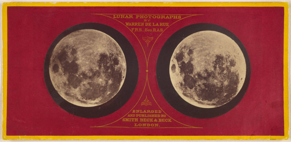 "Warren De la Rue:[The Moon (left) Feb. 27, 1858; (right) Sep,16x12""(A3)Poster"