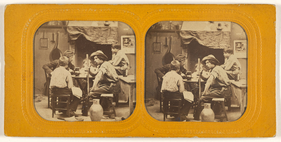 "Unknown:[Men and boys at a table, one man holding a gun],16x12""(A3)Poster"