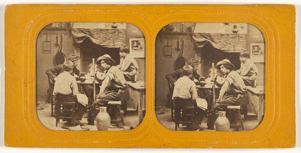 Unknown:[Men and boys at a table, one man holding a gun],16x12