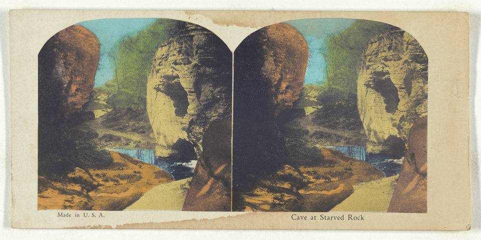 "Unknown maker, American:Cave at Starved Rock,16x12""(A3)Poster"