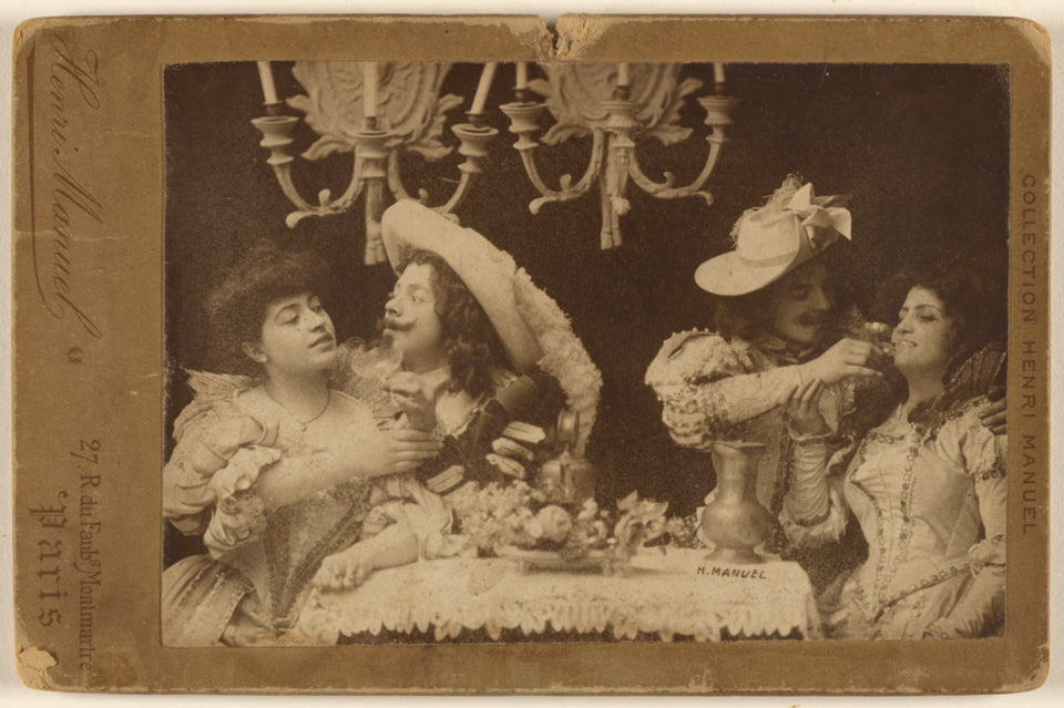 "Henri Manuel:[Tableau of two cavaliers with two women feasti,16x12""(A3)Poster"