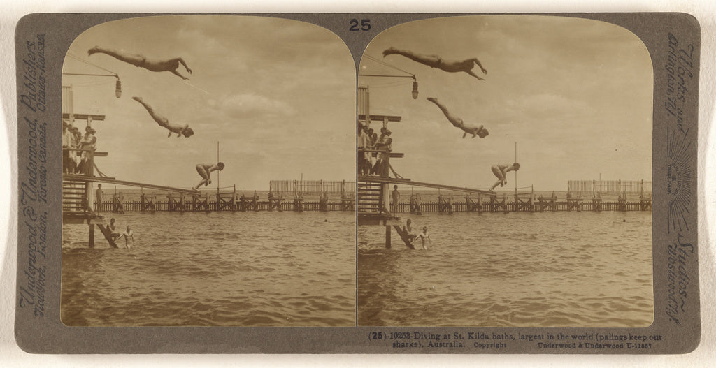Underwood & Underwood:Diving at St. Kilda baths, largest in ,16x12