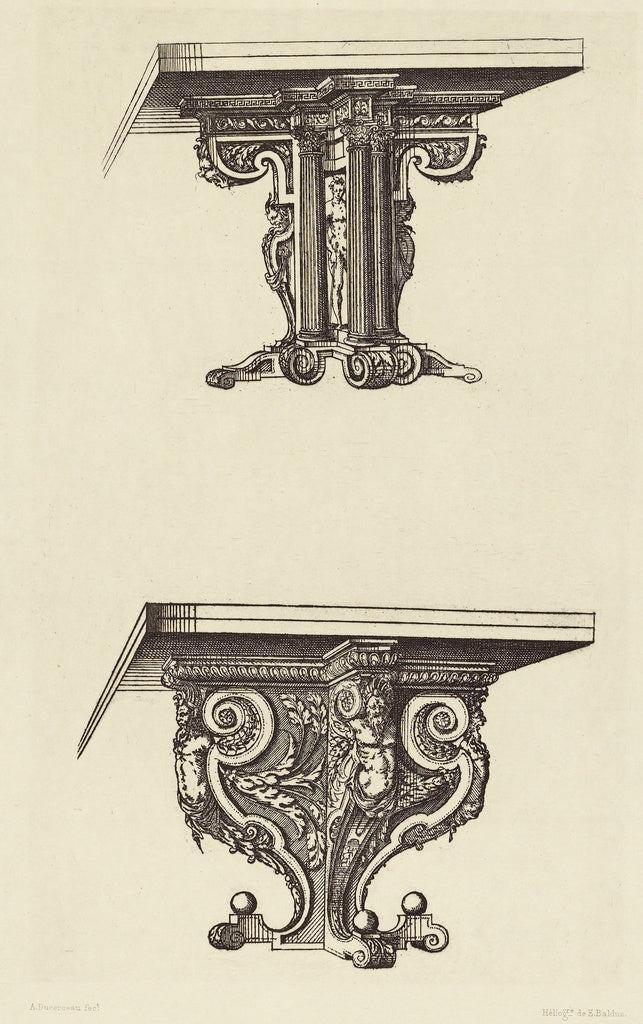 edouard Baldus:[Design for Table Supports by Androuet du Cer,16x12