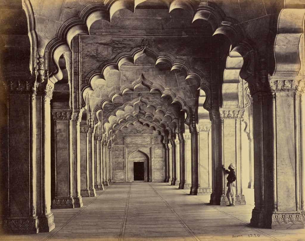 Samuel Bourne:Agra; Interior of the Motee Musjid, Showing th,16x12