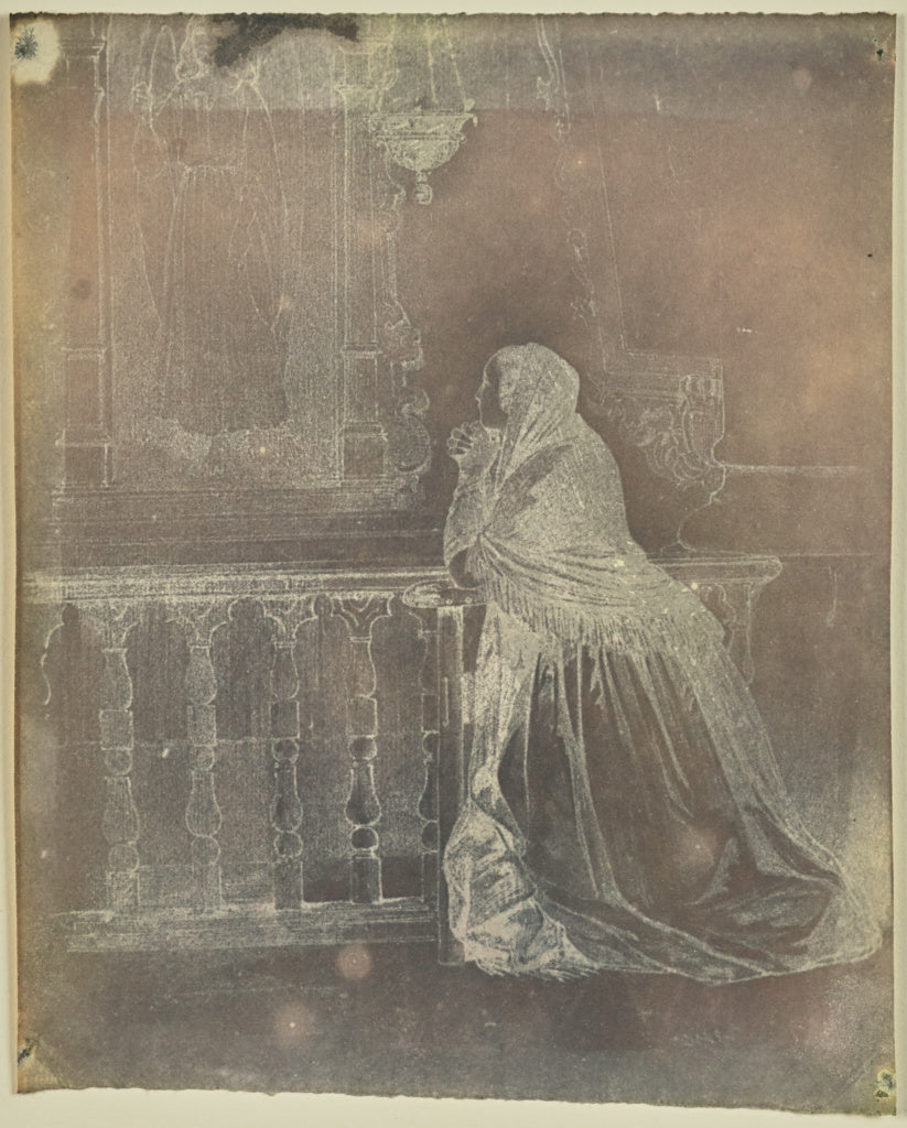 Hippolyte Bayard:[Woman praying at an altar],16x12
