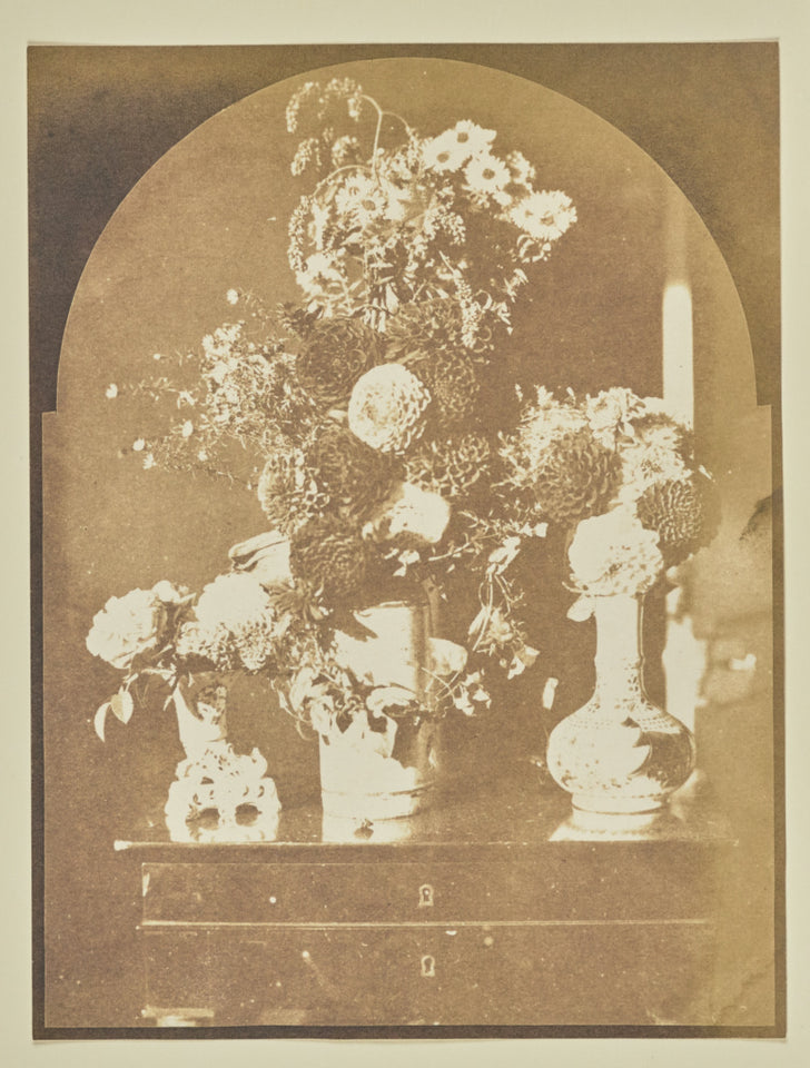 "Hippolyte Bayard:[Still Life - Three Vases of Flowers],16x12""(A3)Poster"