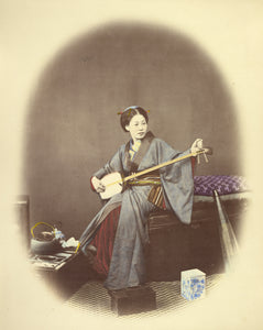 "Felice Beato:Girl Playing the Samisen,16x12""(A3)Poster"