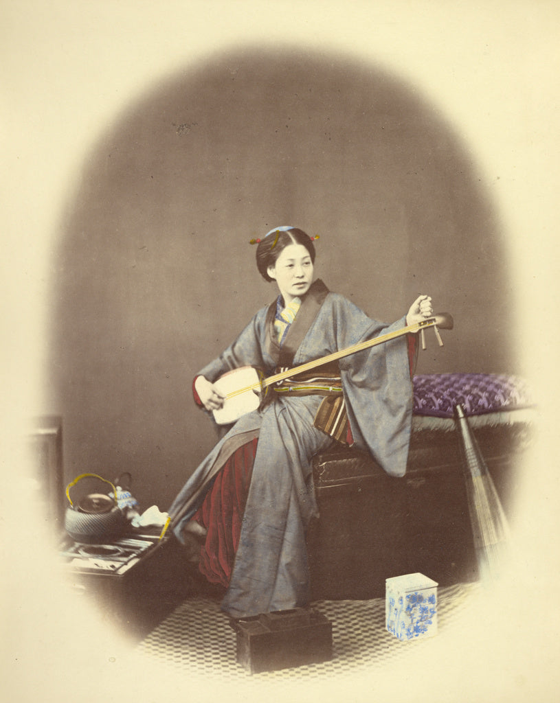 Felice Beato:Girl Playing the Samisen,16x12