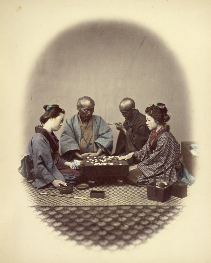 Felice Beato:Japanese Playing Goobun,16x12