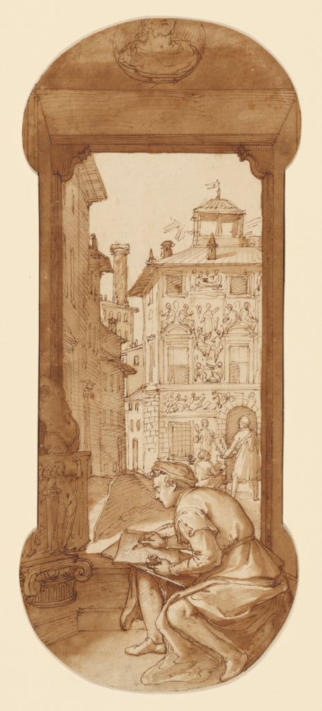 Federico Zuccaro:Taddeo Drawing after the Antique; In the Ba,16x12