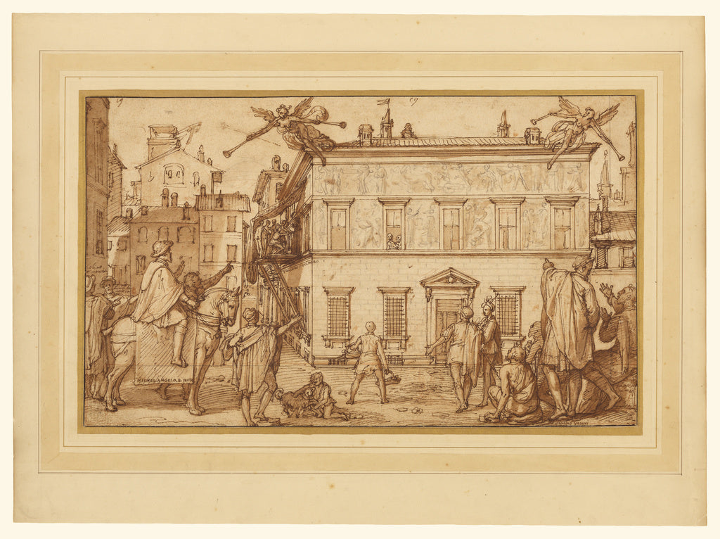Federico Zuccaro:Taddeo Decorating the Façade of the Palazz,16x12