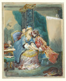 "Eugène Louis Lami:A Couple Embracing in an Artist's Studio,16x12""(A3)Poster"
