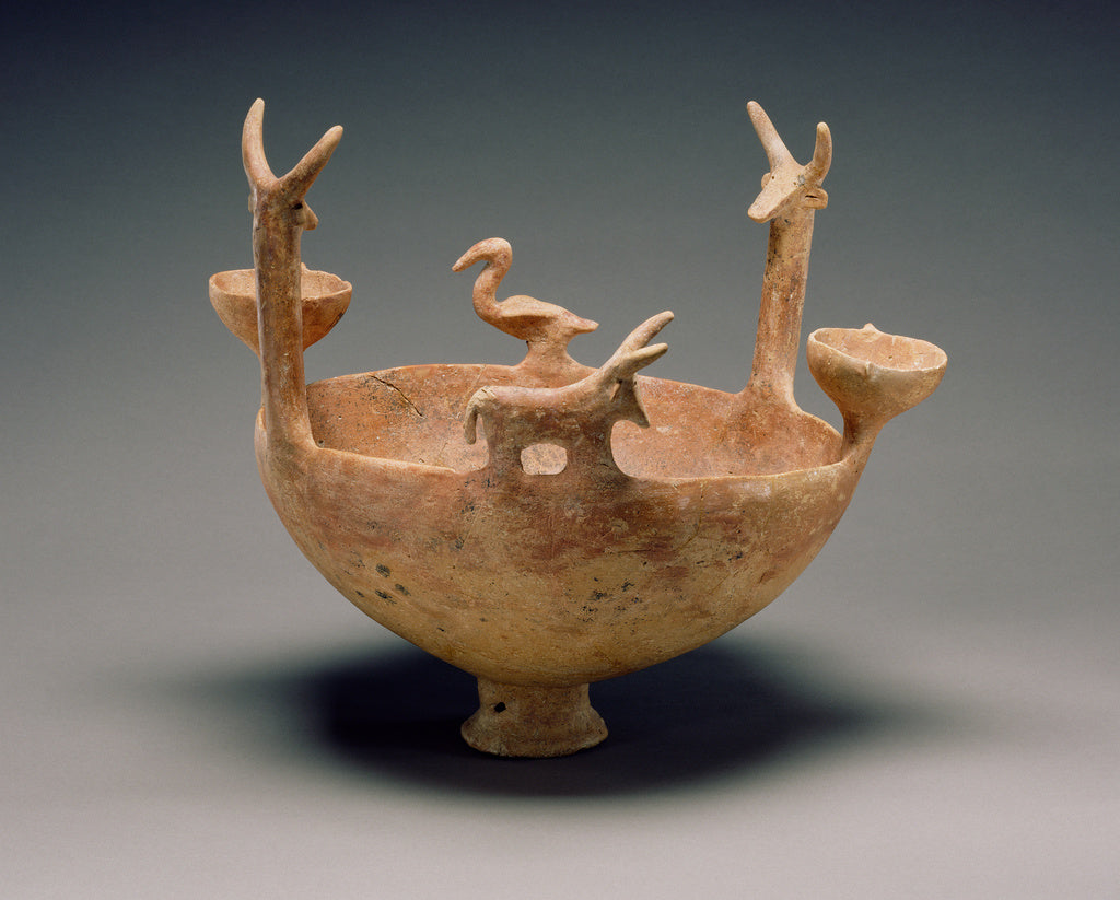 Unknown:Red-Polished Ware Bowl with Modeled Figures,16x12