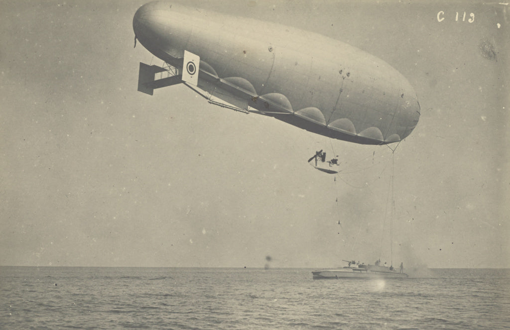 Fédèle Azari:[Blimp attached to a boat],16x12