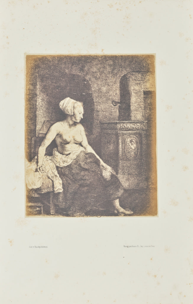 Bisson Frères:[Woman sitting half dressed beside a stove],16x12
