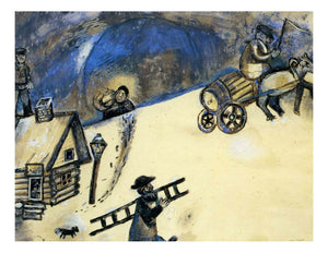 "1911 1912 Marc Chagall - Winter -Vintage Artwork, 16x12""(A3) Poster Print"