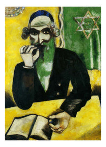 "1912 Marc Chagall - Rabbi -Vintage Artwork, 16x12""(A3) Poster Print"
