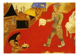 "1916 1918 Marc Chagall - Village Scene-Vintage Artwork, 16x12""(A3) Poster Print"