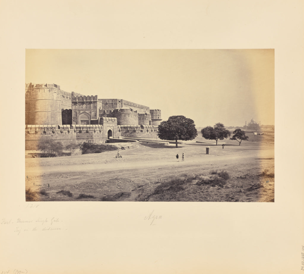 Samuel Bourne:Agra; The Fort, Ummer Singh Gate, with the Taj,16x12