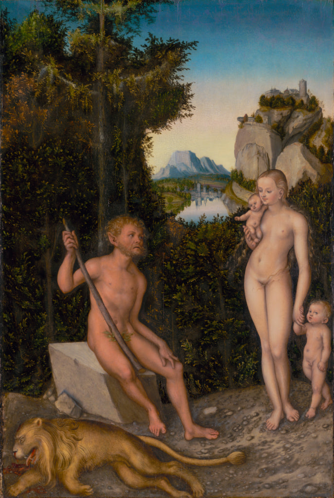 Lucas Cranach the Elder:A Faun and His Family with a Slain L,16x12