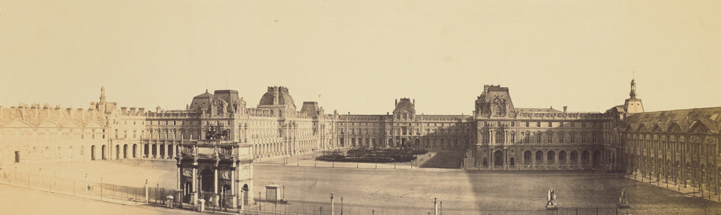edouard Baldus:[Panoramic View of the Nouveau Louvre, Cour N,16x12