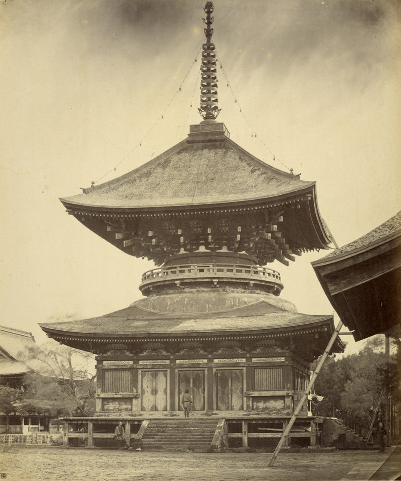 "Felice Beato:[Single-storied Pagoda, Hachiman Shrine, Kamaku,16x12""(A3)Poster"