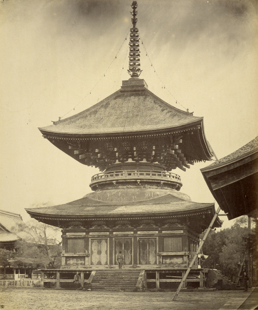 Felice Beato:[Single-storied Pagoda, Hachiman Shrine, Kamaku,16x12