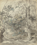 "Johann Georg von Dillis:Wooded Landscape with Cows,16x12""(A3)Poster"