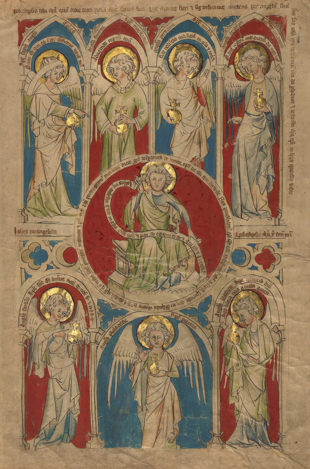 "Unknown:Saint John the Evangelist surrounded by Seven Angels,16x12""(A3)Poster"