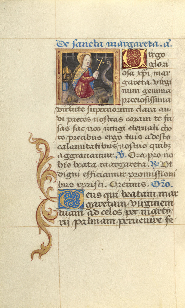 Master of Jacques de Besançon:Saint Margaret and the Dragon,16x12