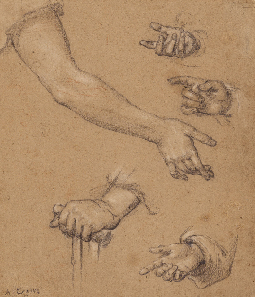 "Alphonse Legros:Studies of Hands,16x12""(A3)Poster"