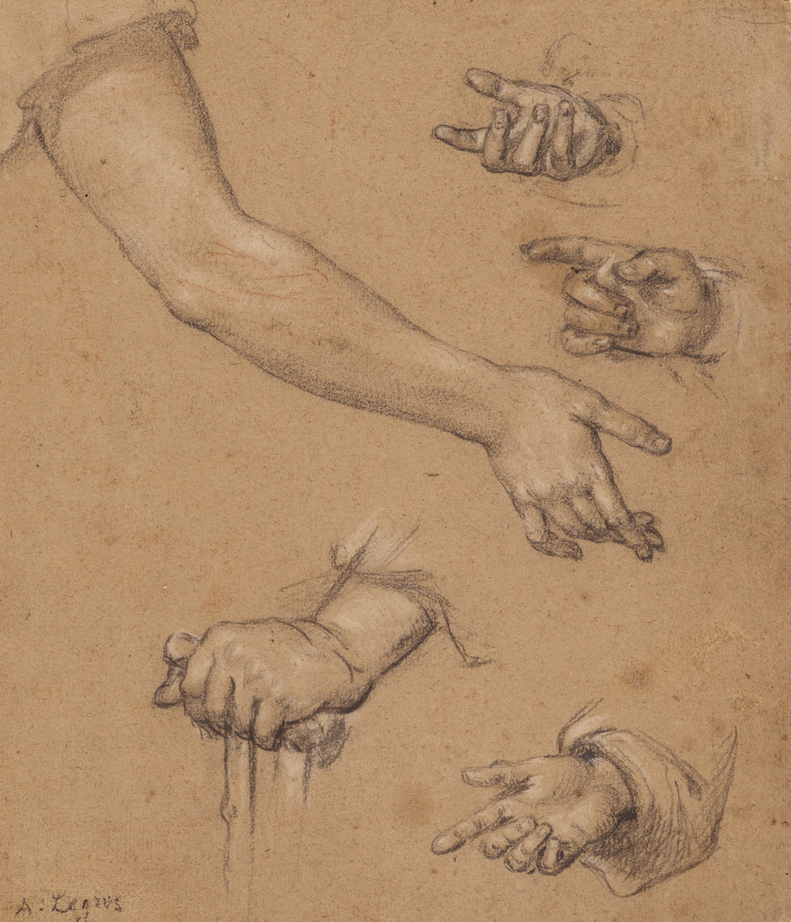 Alphonse Legros:Studies of Hands,16x12