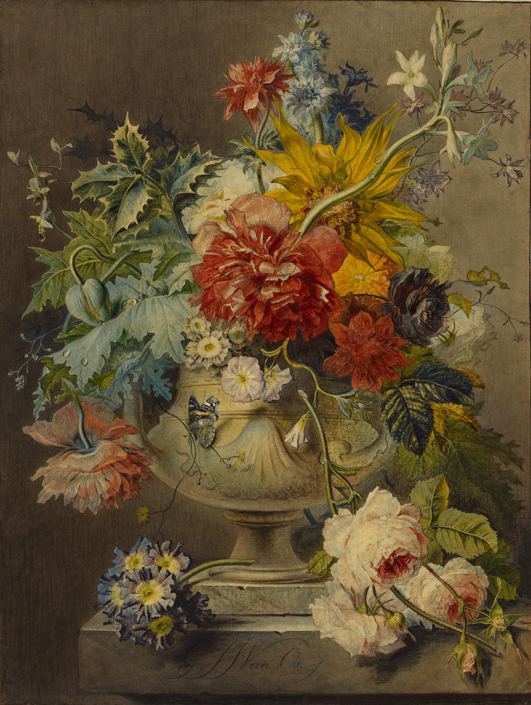 Georgius Jacobus Johannes van Os:Bouquet of Flowers in a Vas,16x12